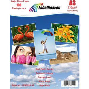 PAPIER PHOTO LabelHeaven - 100 Feuilles Papier Photo A3 Premium