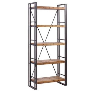 bibliotheque bois metal achat vente bibliotheque bois metal pas cher cdiscount. Black Bedroom Furniture Sets. Home Design Ideas