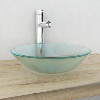 Lixada Lavabos de salle de bain Vasque à poser en verre trempé Dépoli 42 x  14 cm
