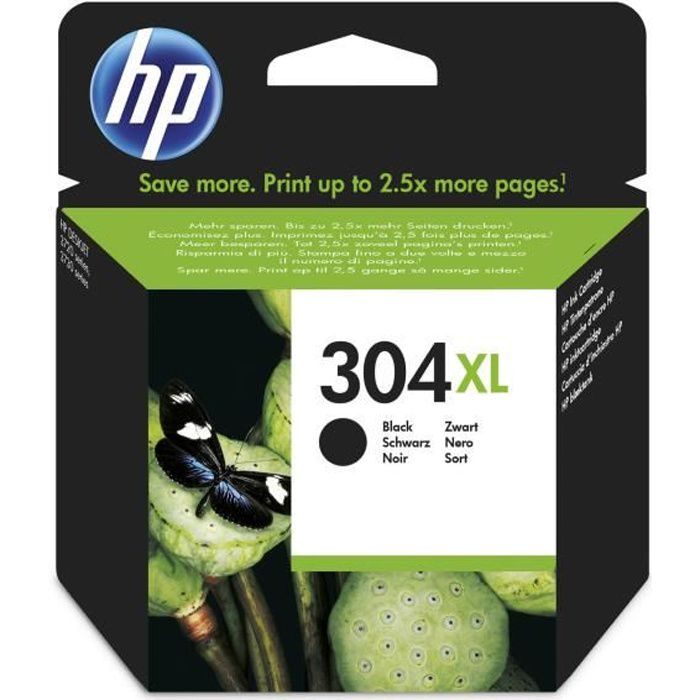 HP 304XL cartouche d'encre noire authentique pour HP DeskJet 2620/2630/3720/3730 (N9K08AE)