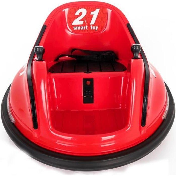 Voiture auto tamponnante - auto tournante électrique Rouge - Voiture électrique pour enfant avec batterie 6v et télécommande