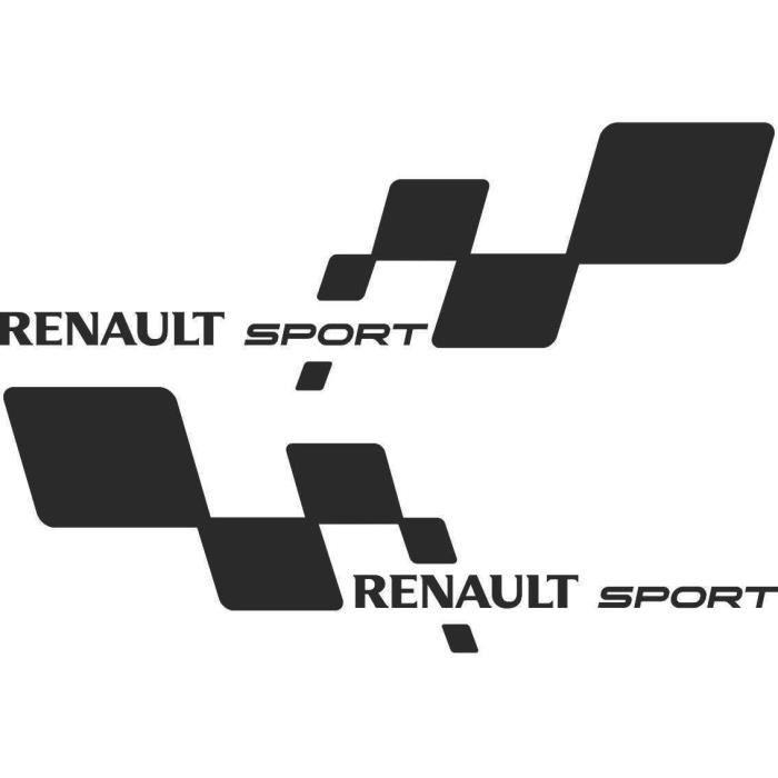 2 Sticker Autocollant Renault Sport Damier NOIR Clio Megane Twingo RS GT par MXSPIRIT