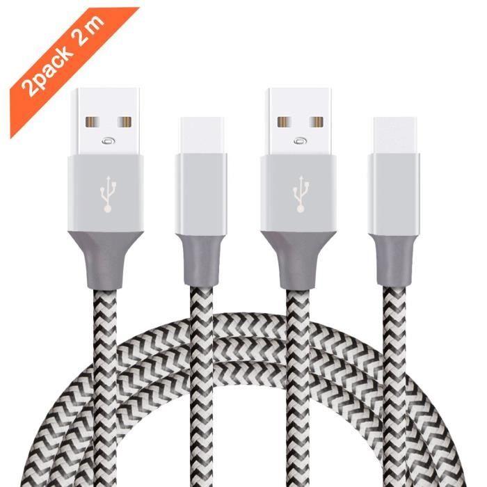 Câble Micro USB C, 2m Lot de 2 Câble Type C, Câble USB C Charge Rapide, USB C Câble, Type C Nylon Tressé Câble âble Samsung S8,Noir