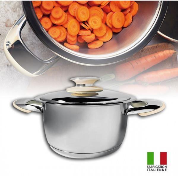 Foodybio® Faitout Basse Température 3,7L en Inox 18-10 avec Couvercle et Thermomètre Intégré Compatible Tous Feux dont Induction