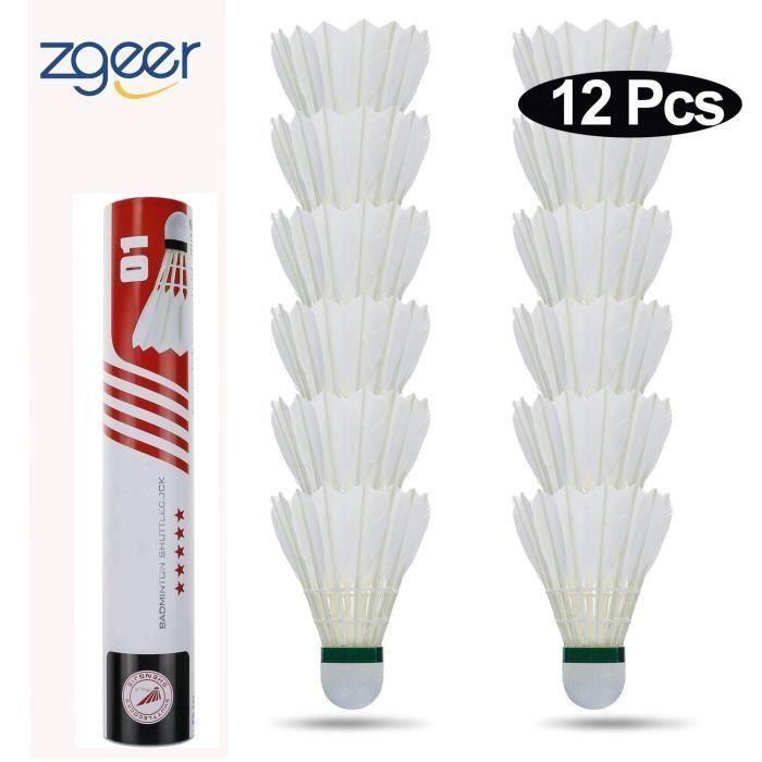 Badminton volants 12pcs, Goose plumes volants écurie et durable sports d 'entraînement balles de badminton, blanc