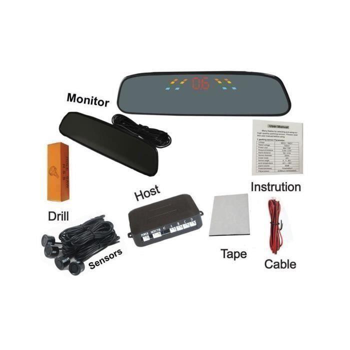 Radar de recul Capteur de stationnement de voiture numérique LED PZ306 Système d'alerte radar de secours avec 4 capteurs