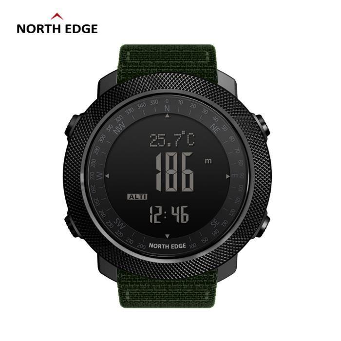 Green Nouveau North Edge montre numérique de sport pour hommes en cours d'exécution natation altimètre baromètre boussole escalade é