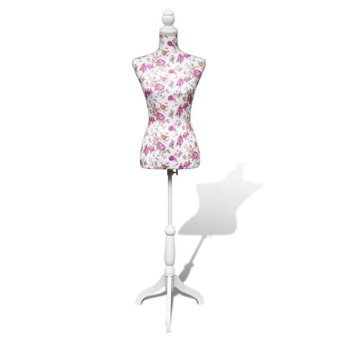 Mannequin Couture Femme - Buste Mannequin De Vitrine - Torse 100% Coton - Trépied Inclus - Montagne Facile&Léger - Blanc&Rosiers