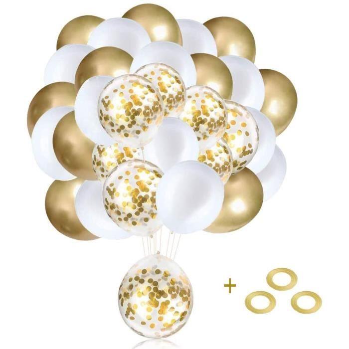 Ballons Anniversaire, Ballon Marriage, Ballon Helium, 60 Pièces Doré Confettis Ballons Fête Ballon pour Décorations , Mariage, Anniv