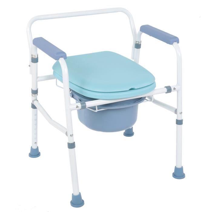Chaise percée Chaise toilettes Chaise de toilettes Réglable avec bassin Urinal urine Avec couvercle WC Commode Adulte HB043 -VQU