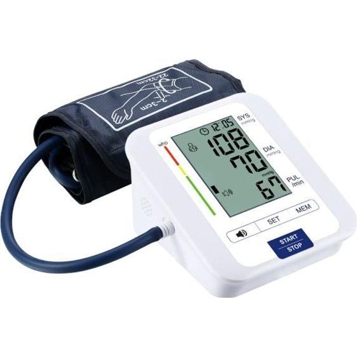 Tensiomètre à Bras Avec 2 Utilisateurs, 2 Modules D'alimentation, 198 Mémoires de Données, Tensiomètre Numérique Précis Avec Grand
