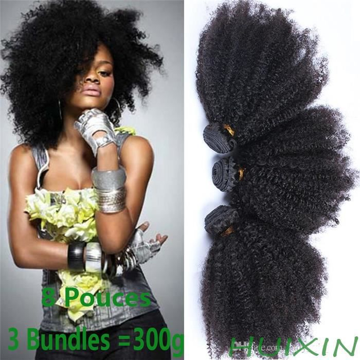8A Mongolian Kinky Curly 3 paquets 8Pouces=20cm 100g/p Virgin Hair 100% cheveux humains
