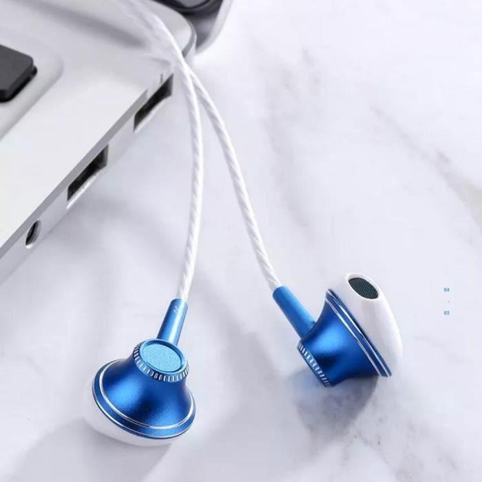 Joyroom E208 Écouteurs Filaire Intra-auriculaire Casque en Métal 6D Basse Audio Stéréo Bleu pour Téléphone Mobile
