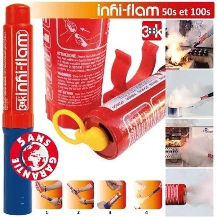 INHI-FLAM - Inhibiteur de feu - Extincteur de poche - Ecologique, Eco-compatible- Actif pour environ 50 secondes - Garanti 5 ans
