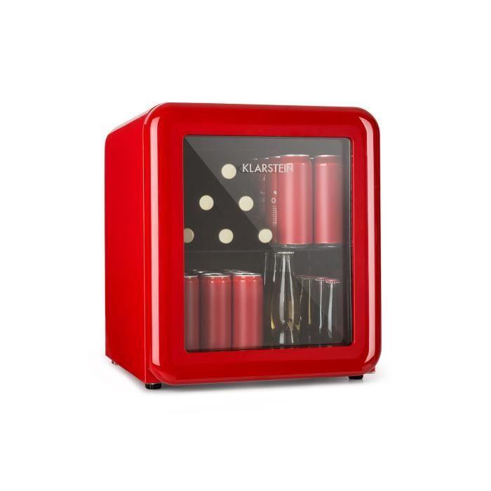 Klarstein PopLife Mini Réfrigérateur à boissons 48L - Minibar 0-10°C - 39 dB - classe A+ - porte double vitrée - design rétro rouge