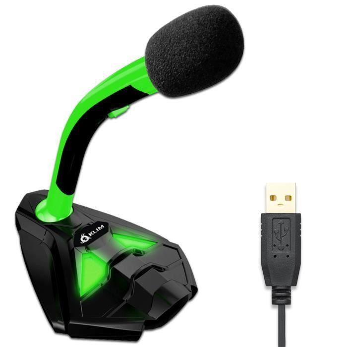 Klim Voice Microphone à Pied Usb pour Ordinateur Micro de Bureau Professionnel Microphone Gamer Pc Ps4 Nouvelle Version Vert