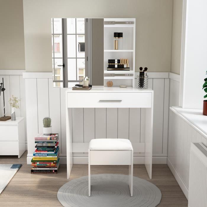 Coiffeuse avec Mirror - Ensemble de Table de Maquillage -Bois, 1 Tiroir, 2 Étagères Cachées, Tabouret - Blanc - Mondeer