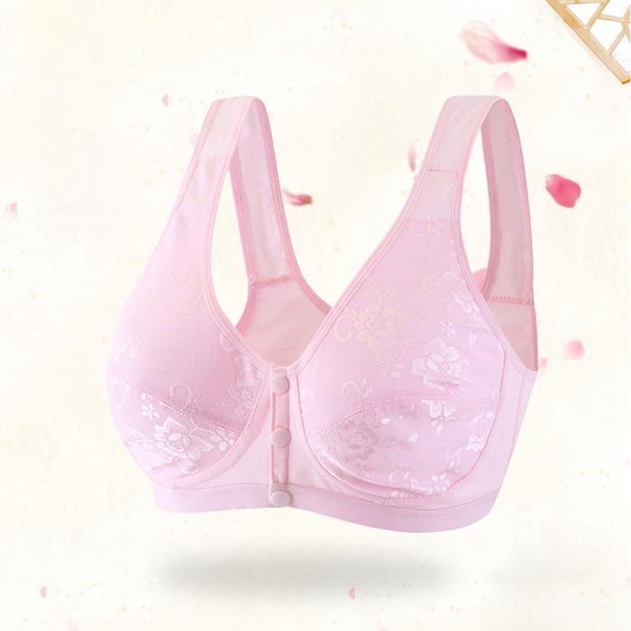 Soutien-gorge de nuit sans fil en coton Bralette fine avec fermeture à glissière devant pour femmes (42 rose)