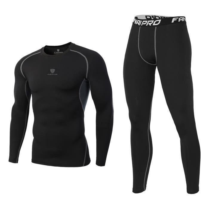 Tenue complète de compression Homme Sport Base Layer Sous-Vêtements Maillot Manches Longues + Pantalon Quick Dry De Fitness