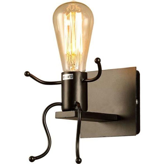 Lampe murale - Rétro industriel - Métal - Noir