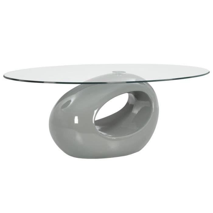 TABLE BASSE scandinave Table à thé-Contemporain salon-avec dessus de table en verre ovale Gris brillant