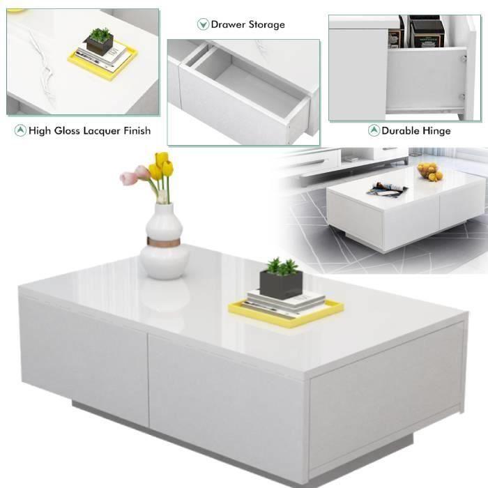 Table basse style contemporain laqué blanc brillant 4 tiroirs CYA82