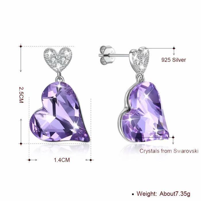 Argent 925 Boucles D/'Oreilles Clou Blanc Violet Cristal Cœur Femmes Fashion Jewelry