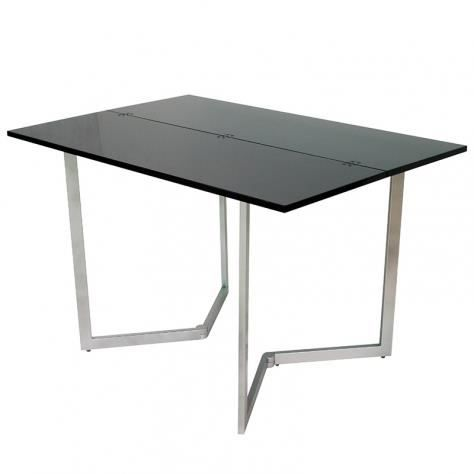 Table console extensible noire laqu e talia achat for Table laquee extensible