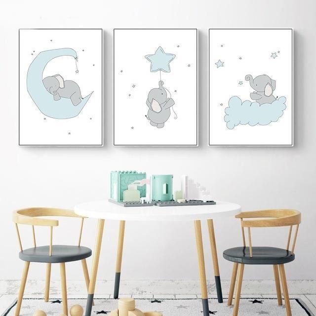 3 Pièces Jolie Bd éléphant Lune Star Toile Art Peinture