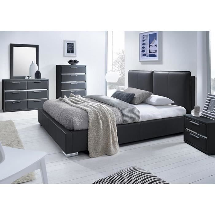lit simili noir avec t te de lit exia 140 x 190 achat. Black Bedroom Furniture Sets. Home Design Ideas