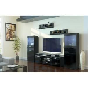 ensemble de meuble tv design laqu noir non achat vente meuble tv ensemble de meuble tv. Black Bedroom Furniture Sets. Home Design Ideas