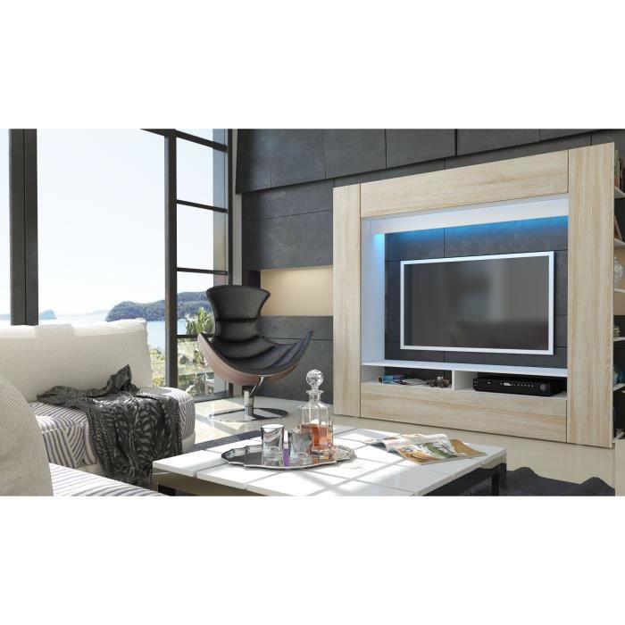 meuble tv murale blanc et bois brut achat vente meuble tv hi fi meuble tv murale blanc et. Black Bedroom Furniture Sets. Home Design Ideas
