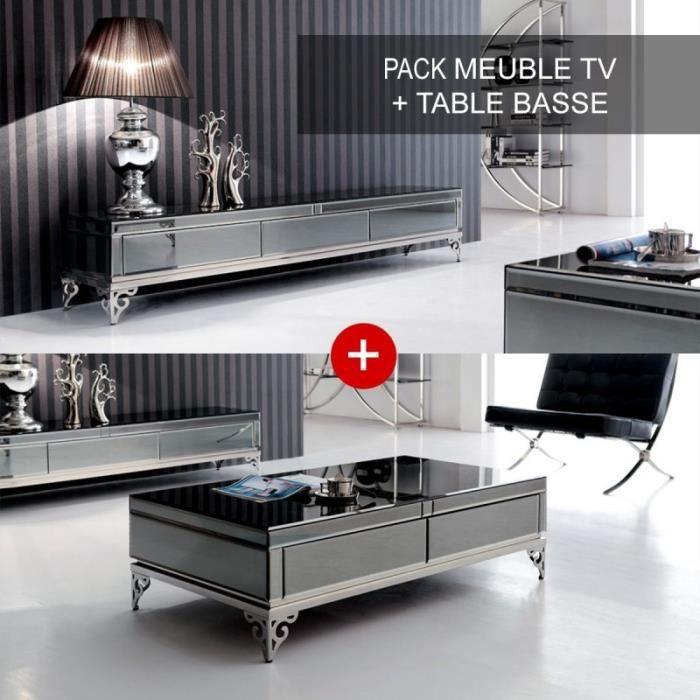 Ensemble Meuble Tele Et Table Basse Elegante Achat Vente Table