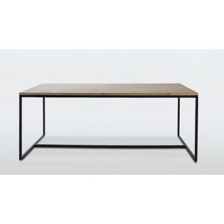 Table salle manger industrielle plank marron achat vente table mang - Table salle a manger metal ...