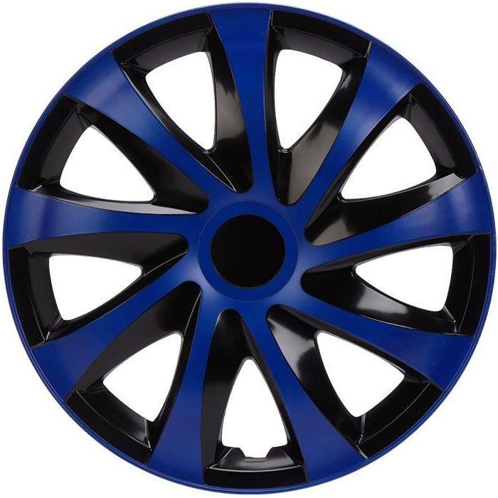 4x Enjoliveurs de roues 14 pouces noir bleu DRIFT de NRM Enjoliveurs de roues