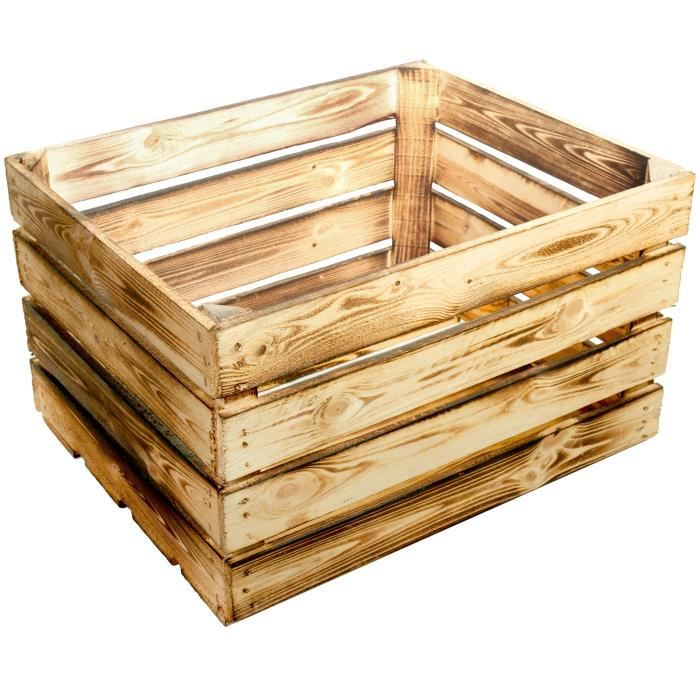 Lot De 2 Nouvelles Cagettes De Rangement En Bois Flambe Ca 50 X 40 X 30 Cm Achat Vente Boite De Rangement Cdiscount
