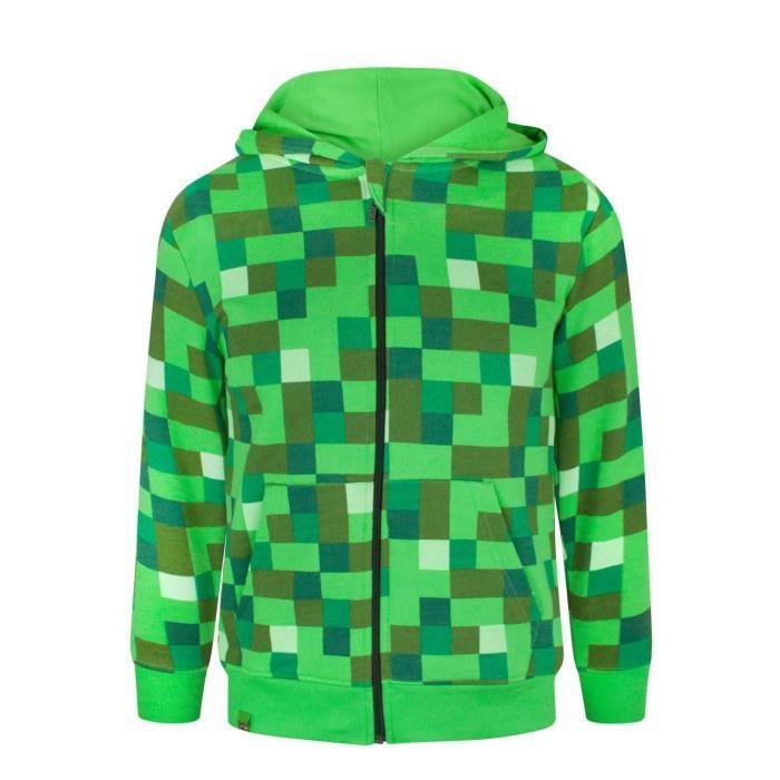 Gar/çon Minecraft Creeper Sweat-Shirt /à Capuche