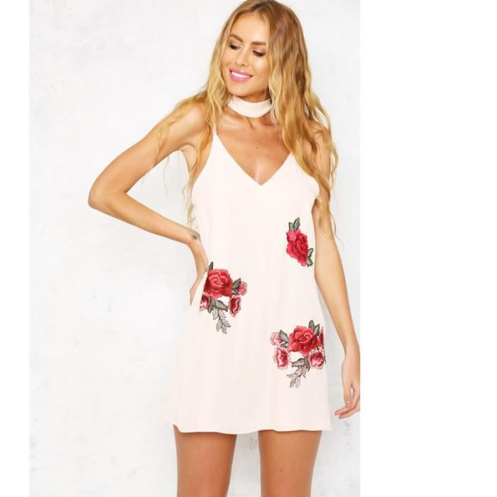 Robe G8449 Blanc Taille S Nouveau Sexy Slip Floral Embroidery Plunge V Neck Choker Spaghetti Strap manches Mini