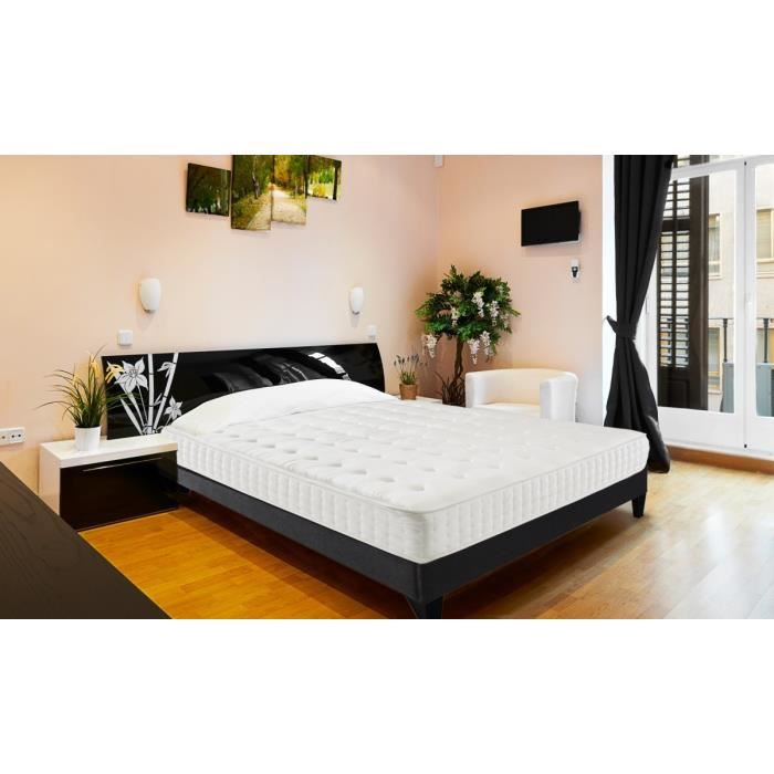 eminence ensemble sommier matelas eminence 140x190 2 places mousse ferme 60kg m3. Black Bedroom Furniture Sets. Home Design Ideas