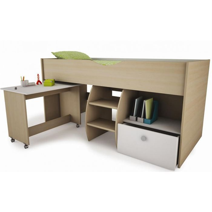 lit combin bureau pour enfant 90x200 achat vente lit. Black Bedroom Furniture Sets. Home Design Ideas
