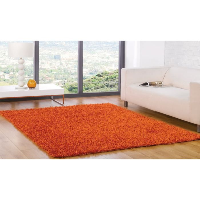 tapis poils long spider orange cm 110x160 achat vente tapis cdiscount. Black Bedroom Furniture Sets. Home Design Ideas