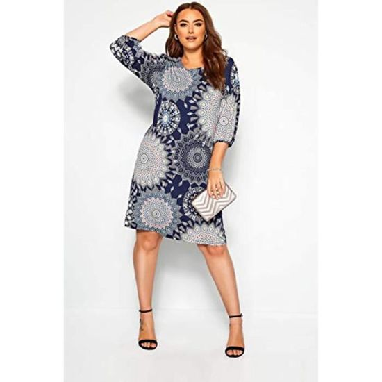 Robe Vvows Droite Grande Taille Taille 48 Marine Achat Vente Robe Cdiscount