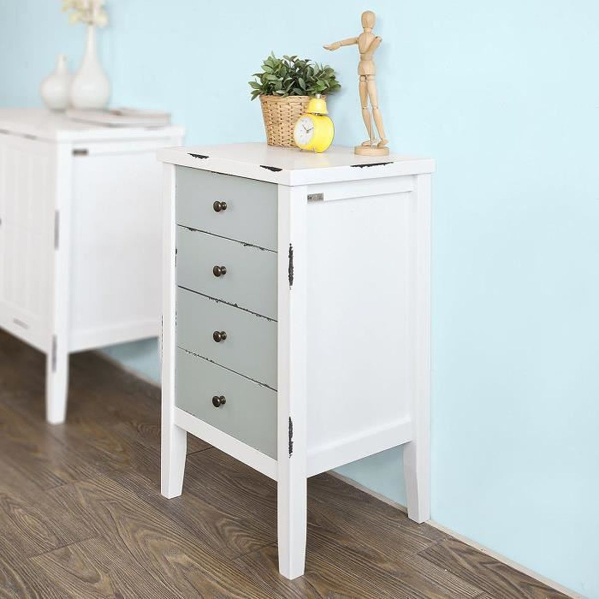 petite commode table de chevet table de nuit 4 tiroirs style shabby chic achat vente commode. Black Bedroom Furniture Sets. Home Design Ideas