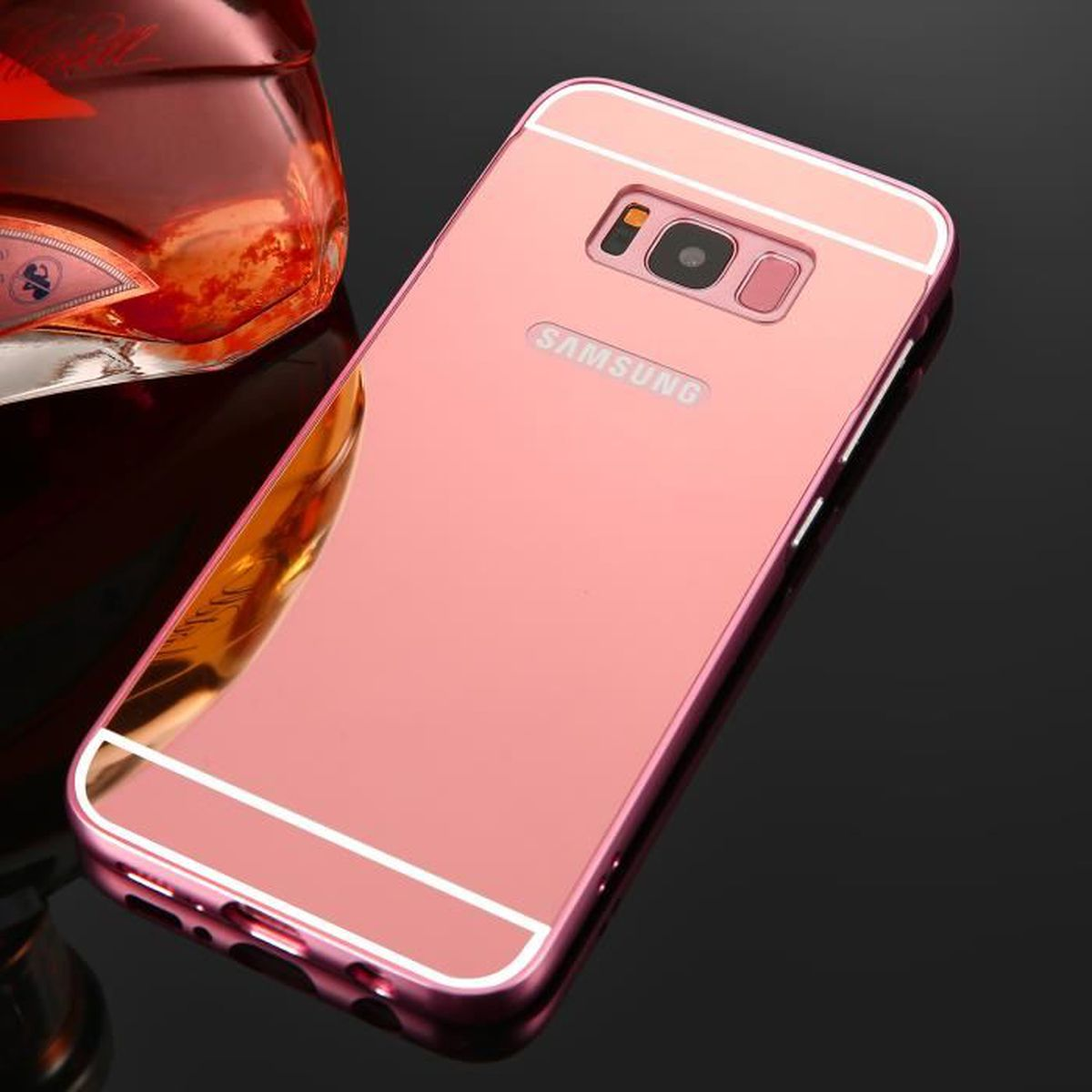 samsung galaxy s8 plus miroir coque rose or antichoc coque samsung galaxy s8 plus etui m tal. Black Bedroom Furniture Sets. Home Design Ideas