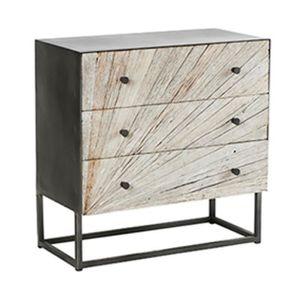 COMMODE DE CHAMBRE Commode 3 tiroirs 75x38x75 cm en bois recyclé et m