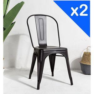 CHAISE KOSMI.FR Lot de 2 chaises FACTORY en métal noir ma