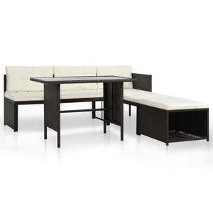 Ensemble table et chaise de jardin Mobilier de jardin-Salon de jardin 4 pcs Résine tr