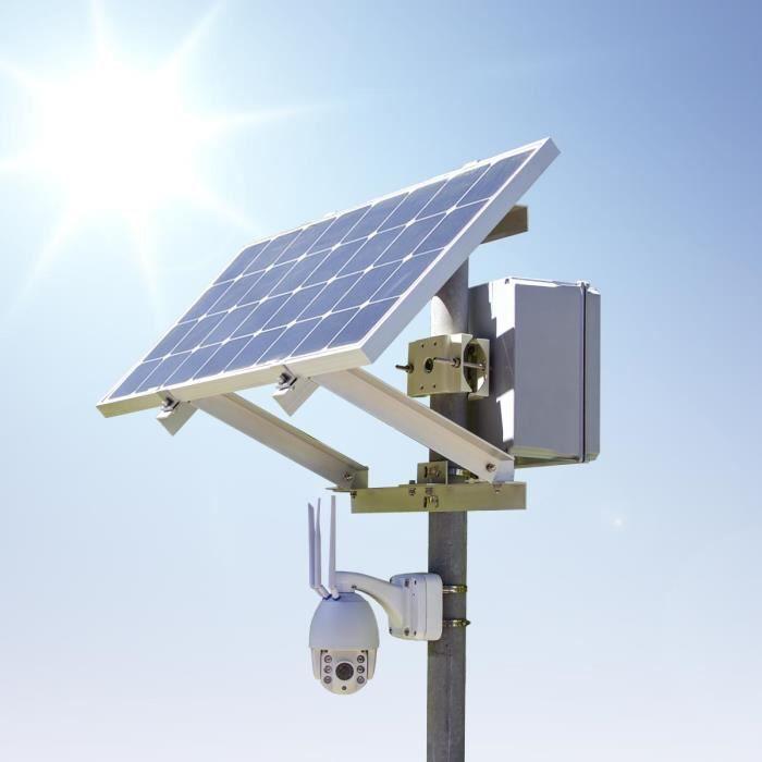 Kit caméra PTZ solaire autonome 4G waterproof extérieure HD 1080P panneau solaire batterie et fixation mat avec carte micro SD 64Go
