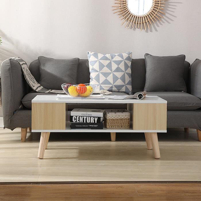 Table Basse de Salon Design Table de Salon en Bois Moderne avec Rangement - 90x45x39cm (Blanche/Chêne clair)
