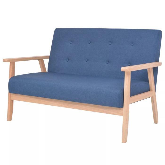 DEX Canapé à 2 Places Banquette Sofa Causeuse de Salon - Salle de Séjour Intérieur Tissu Bleu,113,5 x 67 x 73,5 cm